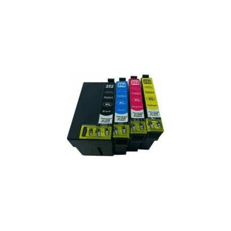 4 Pack Compatible Epson 252XL Ink Cartridge Set (1B,1C,1M,1Y) High Yield