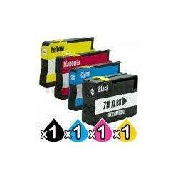 4 Pack HP 711XL Compatible Inkjet Cartridges [1BK,1C,1M,1Y]
