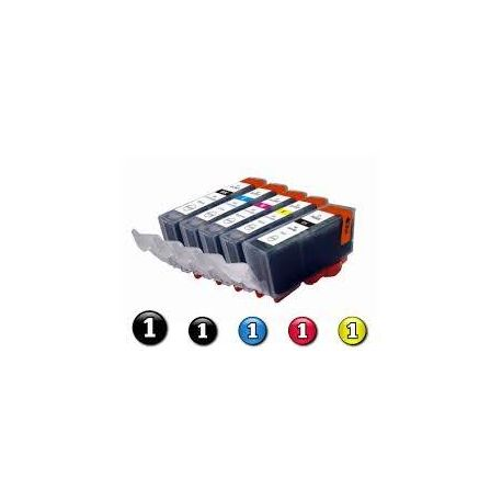 5-Pack Canon PGI-5BK, CLI-8BK/C/M/Y Compatible Inkjet (with Chip)