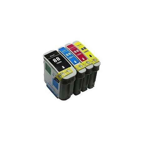 4 Pack HP 88XL Compatible Inkjet Cartridge C9396A - C9393A [1BK,1C,1M,1Y]