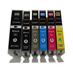 6 Pack Canon PGI-650XL CLI-651XL Compatible High Yield Inkjet Cartridges