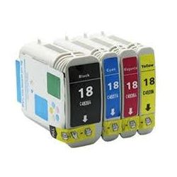 4 Pack HP 18 Compatible Inkjet Cartridges C4936A-C4939A [1BK,1C,1M,1Y]