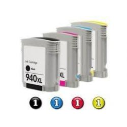 4 Pack HP 940XL Compatible Inkjet Cartridges C4906AA - C4909AA [1BK,1C,1M,1Y]