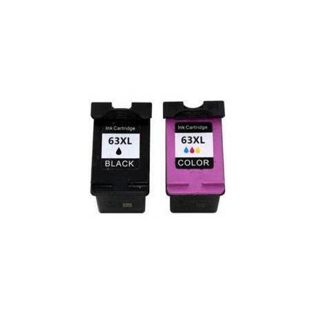 2 Pack HP 63XL Compatible High Yield Inkjet Cartridges F6U64AA + F6U63AA [1BK,1CL]